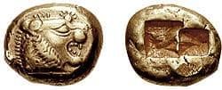 Moeda da Lídia do século VI a.C.